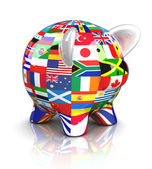Piggy Bank - Collection of flags — Stock Photo