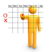 Stick Figure with empty calendar. — Stock Photo