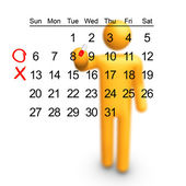 Stick Figure with Calendar — Stock Photo