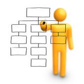 Stick Figure Drawing Empty Organization Chart — Stock Photo