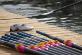Leaving stage for rowing race — Stock Photo