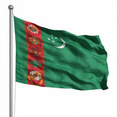 Vlajka turkmenistánu — Stock fotografie