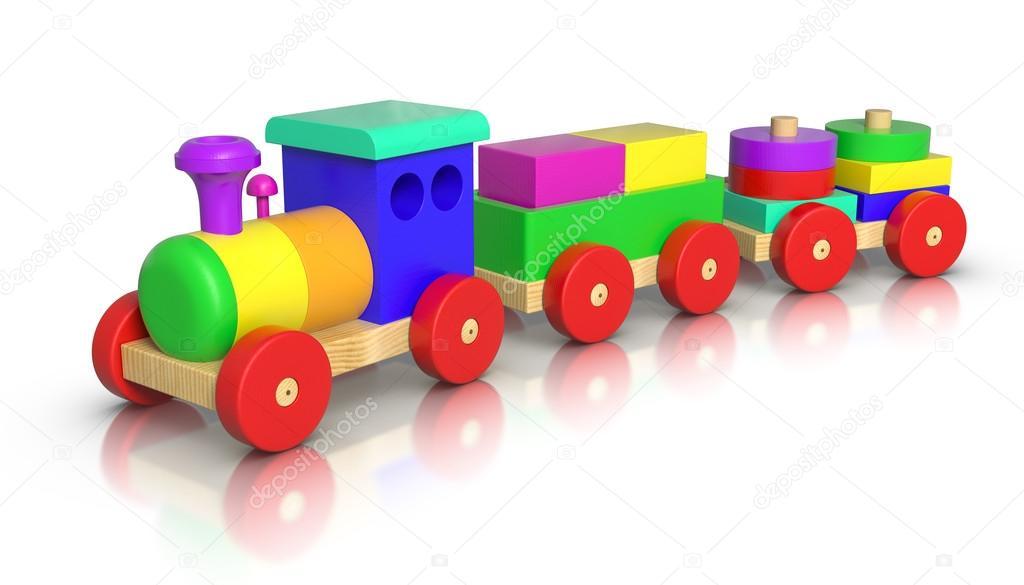 Wooden Toy Train — Stock Photo © ayzek #30181953