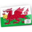 Credit Card covered with Wales flag. — Stock Photo