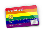 Credit Card covered with Rainbow flag. — Stock Photo