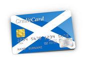 Creditcard bedekt met Schotse vlag. — Stockfoto