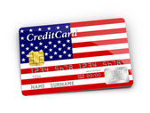 Credit Card covered with American flag. — Stock Photo
