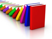 Colorful books Domino Effect — Stock Photo