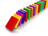 Row of Colourful Books falling like domino — Stock Photo