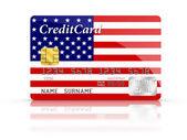 Kredi kartı ile amerikan bayrağı kapalı. — Stok fotoğraf