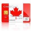 Stock Photo: Credit Card covered with Canada flag.