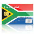 Credit Card covered with South African flag. — Photo