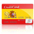 Credit Card covered with Spain flag. — Stock Photo #30250925