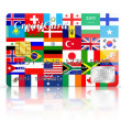Credit Card covered with Flags. — Stock Photo