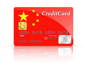 Credit Card covered with China flag. — Stock Photo