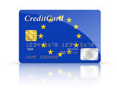 Credit Card covered with European flag. — Stock Photo