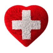 Flag of Switzerland - Fluffy Heart - First aid — Stock Photo