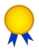 Gold Award Medal with Blue Ribbon — Stock Photo
