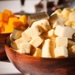 Cubed cheese — Stock Photo
