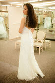 Trying Wedding Dress — Stok fotoğraf