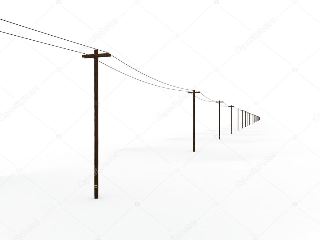 Power Poles Fading Into a