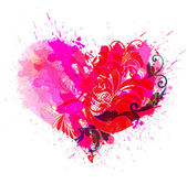 Vector heart. colorful ink splattered — Stock Vector