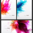 Abstract artistic Background with floral element and colorful blots. Set of abstract cards. — Stock Vector #22370627