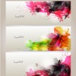 Set of abstract cards with flowers colorful elements with blots. — Stock Vector #22371515