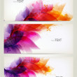 Set of abstract cards with flowers colorful elements with blots. — Stock Vector