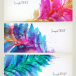 Set of abstract cards with flowers colorful elements with blots. — Stock Vector #22374029