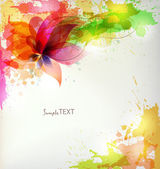 Abstract background with colorful flower and blots. — Stock Vector