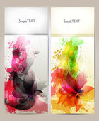 Abstract artistic Background with floral element and colorful blots. Set of abstract cards. — Stock Vector