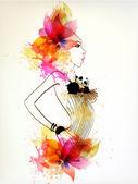 Mooie mode vrouwen met abstracte bloem en vlekken. — Stockvector