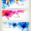 Set of flowers element and colorful blots. Design brochure template with flowers elements — Stock Vector #35184487