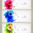 Set of Beautiful fashion women with abstract colorful flowers and blots. — Stock Vector #35185125