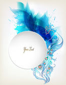 Abstract flower with blue elements, blots and place for your text. Vector design — Stock Vector