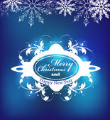Blue Christmas label for Xmas and New Year holidays. — Stock Vector