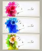 Set of Beautiful fashion women with abstract colorful flowers and blots. — Stock Vector