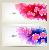 Set of flowers element and colorful blots. — Stock Vector