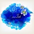 Blue watercolor vector background with colorful flower — Stock Vector