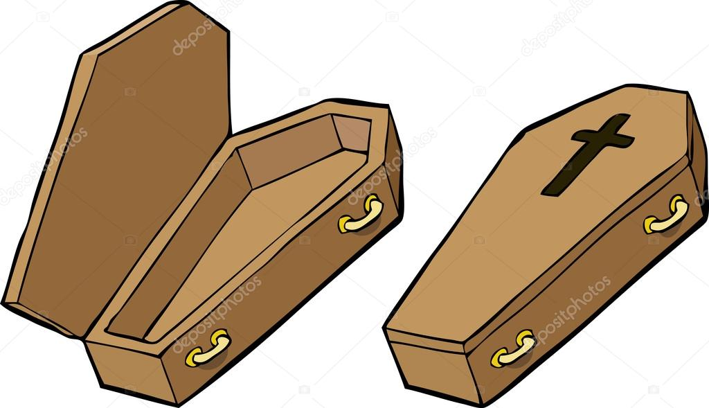 how to draw a closed coffin