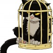 Cat in the bird cage - 图库矢量图片