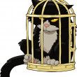 Cat in the bird cage — Stockvectorbeeld