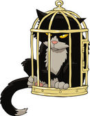 Cat in the bird cage — Vector de stock