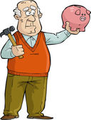 Old man with piggy bank — Stock Vector