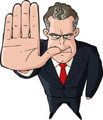 Businessman showing stop — Stock Vector