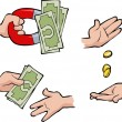 Hands with money — Stock Vector