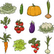 Set of vegetables — Stockvectorbeeld