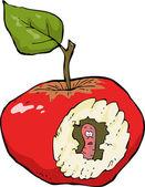 Worm-eaten apple — Vector de stock