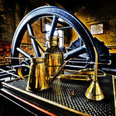 Greasing a steamengine — Stock Photo